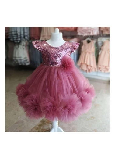 Pelops Kids Pumpido Kız Çocuk Payetli ve Ponponlu Elbise Mor